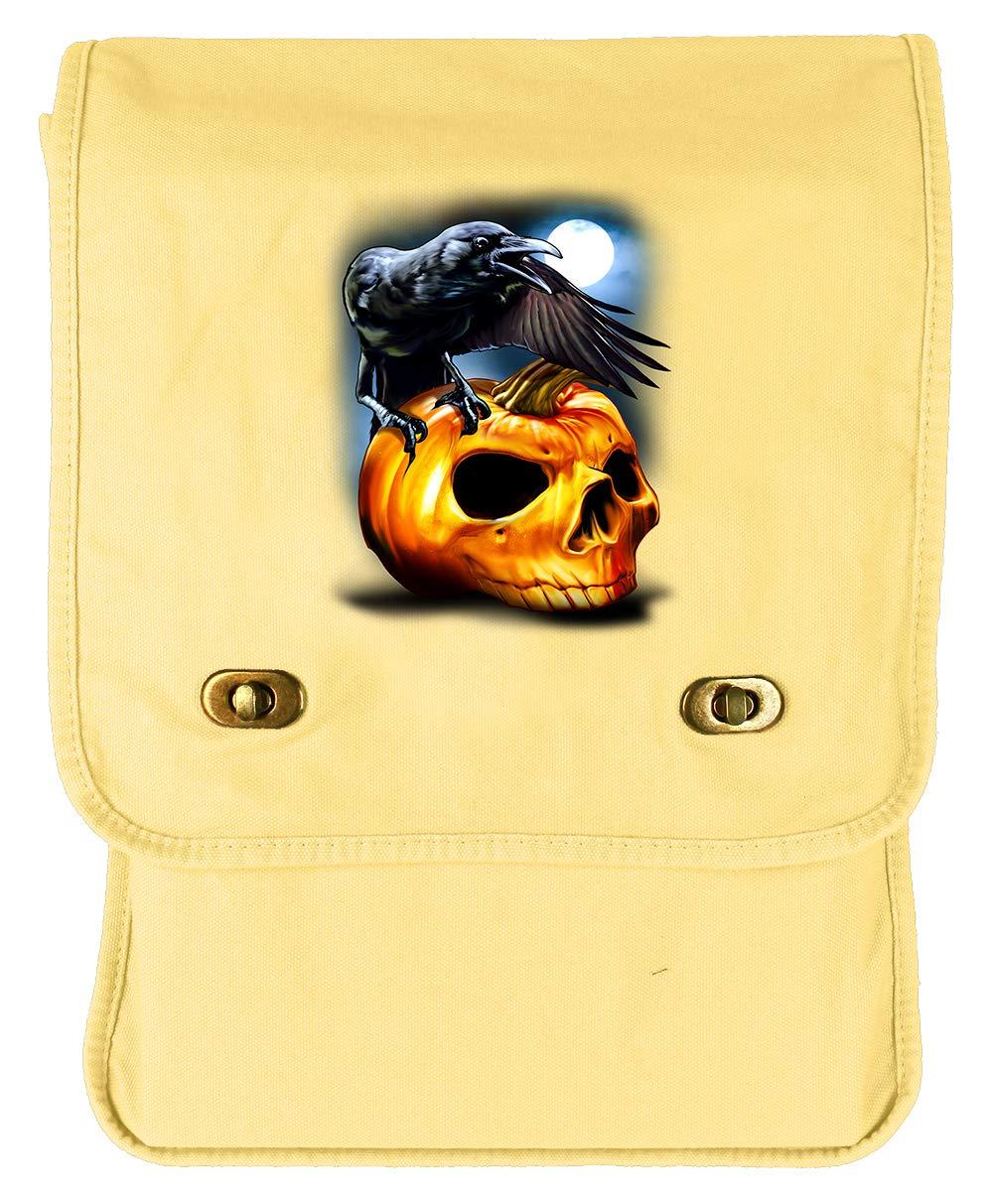 Tenacitee Crow Pumpkin Skull Grey Brushed Canvas Messenger Bag