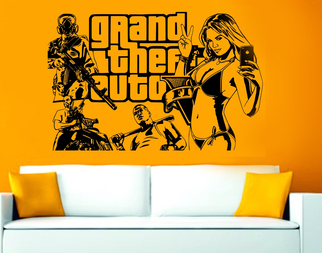 GTA 5 Grand Theft Auto 5 Wall Art Sticker/Decal (Gold): Amazon.co.uk ...