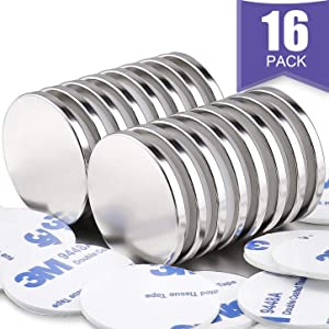 Super Strong Neodymium Disc Magnets with Double-sided Adhesive, Powerful Permanent Rare Earth Magnets. Fridge, DIY, Building, Scientific, Craft, and Office Magnets, 1.26 inch D x 1/8 inch H - 16 Packs