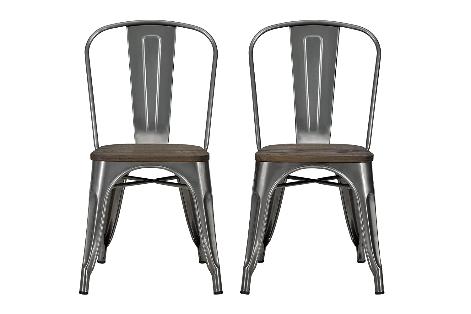 Amazon.com: DHP Fusion Metal Dining Chair with Wood Seat, Set of two,  Antique Gunmetal: Kitchen & Dining - Amazon.com: DHP Fusion Metal Dining Chair With Wood Seat, Set Of Two