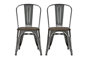 DHP Fusion Metal Dining Chair with Wood Seat, Distressed Metal Finish for Industrial Appeal, Set of two, Antique Gun Metal