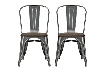Amazoncom Dhp Fusion Metal Dining Chair With Wood Seat Distressed