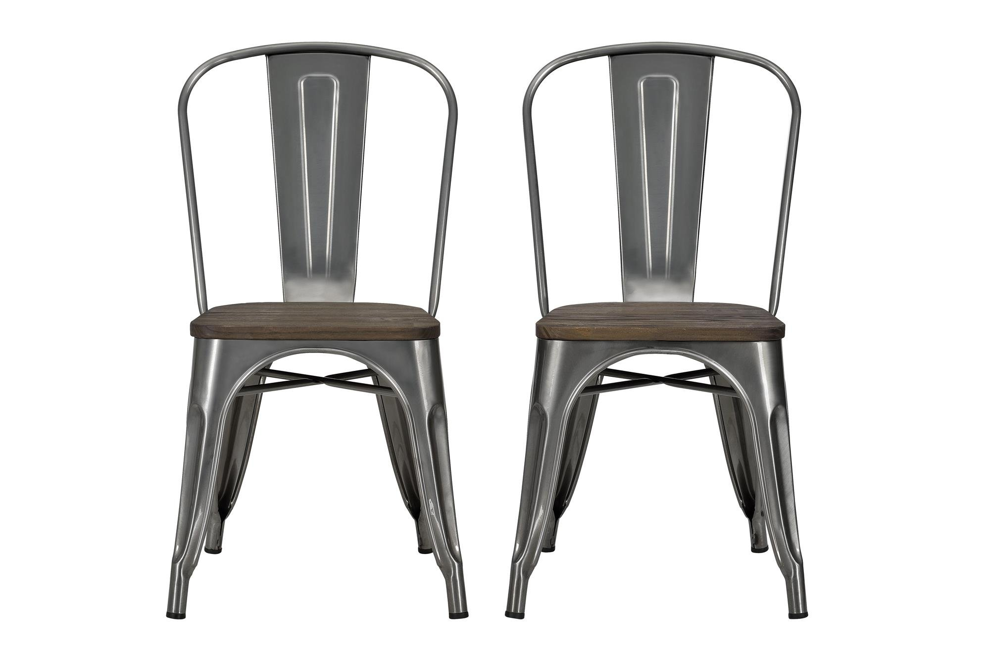 DHP Fusion Metal Dining Chair with Wood Seat, Set of two, Antique Gunmetal by DHP (Image #1)