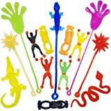 14 pack Vinyl Assorted Stretchy Sticky Toy Novelty Fidget Toy Including Large Sticky Hands, Wall Climber Men, Hammers, Snakes,Lizards,crocodile and Flying Frogs for Party Favor Kids Christmas Gift