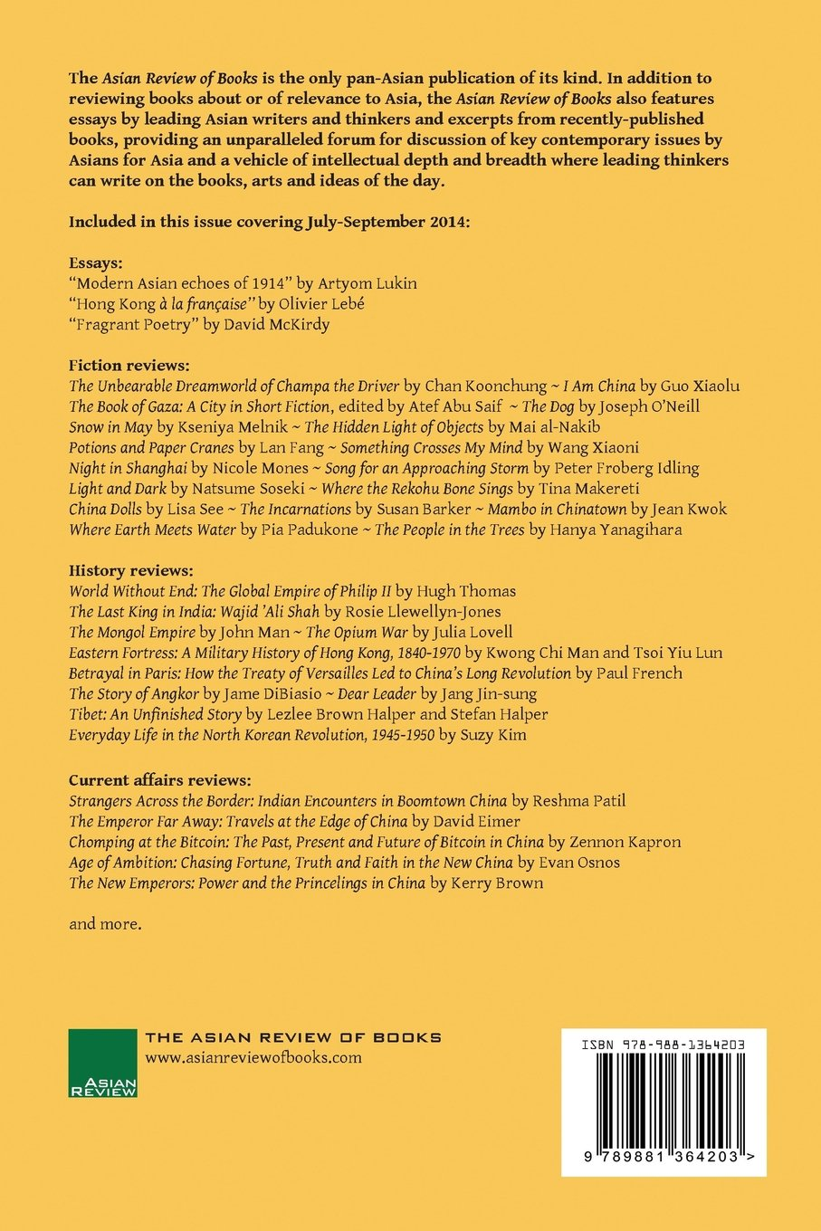 Amazon.com: Asian Review of Books, Volume 1, Number 2: October 2014  (9789881364203): Peter Gordon: Books