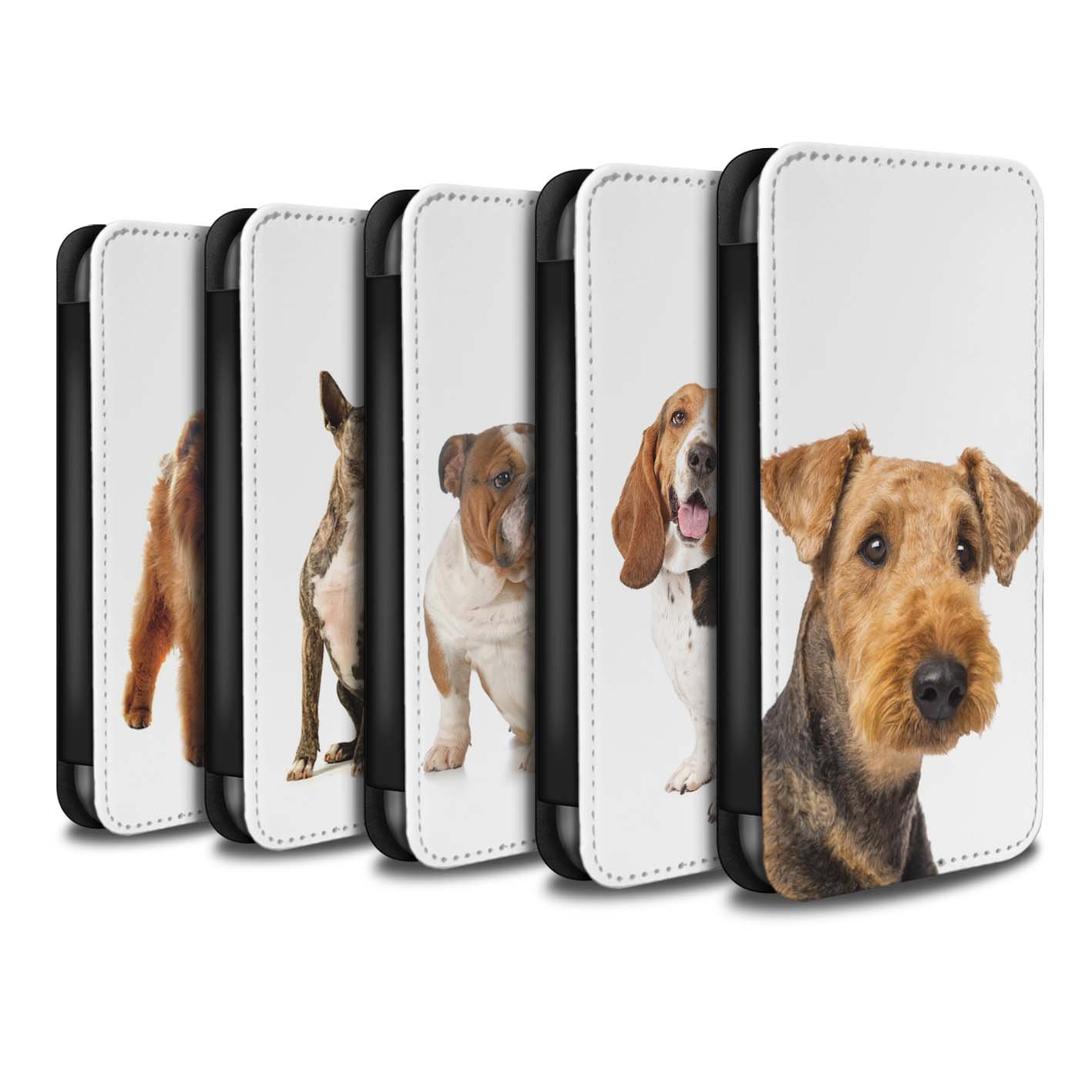 STUFF4 PU Leather Wallet Flip Case/Cover for Apple iPhone 8 / Pack 12pcs Design / Dog Breeds Collection