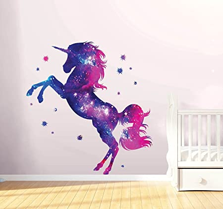 a22a1f495e2 Stars Unicorn Wall Sticker Fantasy Girls Bedroom Wall Art Cute Nursary Decal   Amazon.co.uk  DIY   Tools