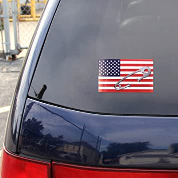 Amazon com safety pin car decal sticker stand against intolerance american flag vinyl stylish safetypin suv truck van rear windshield back window