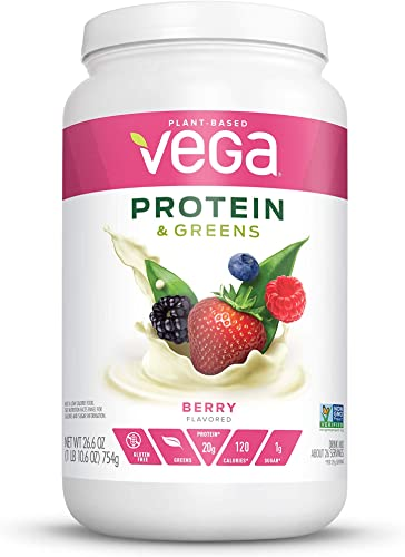 Vega Protein Greens Berry 26 servings, 26.6 Ounces – Plant Based Protein Powder, Keto-Friendly, Gluten Free, Non Dairy, Vegan, Non Soy, Non GMO, Packaging may vary