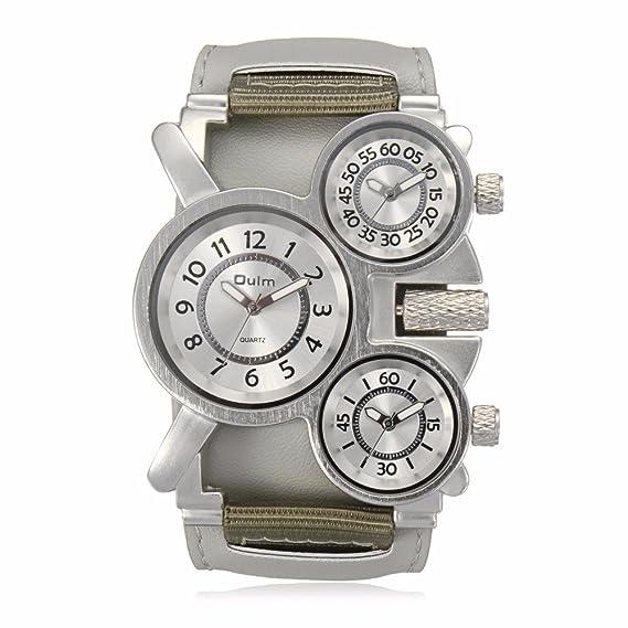 be222e8a6de2 OULM para hombre relojes primera marca lujo famoso Tag Hombres Militares de  la muñeca reloj 3 tiempo zona macho lona banda cuarzo reloj de Hombre  ...