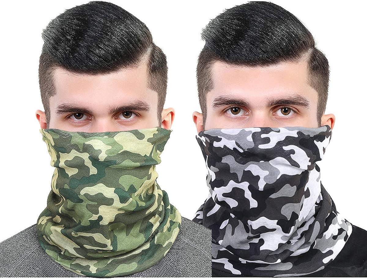Unisex Neck Gaiter Set Face Scarf Mask Dust for Men and Women, Multifunctional bandanas Face shield Headband