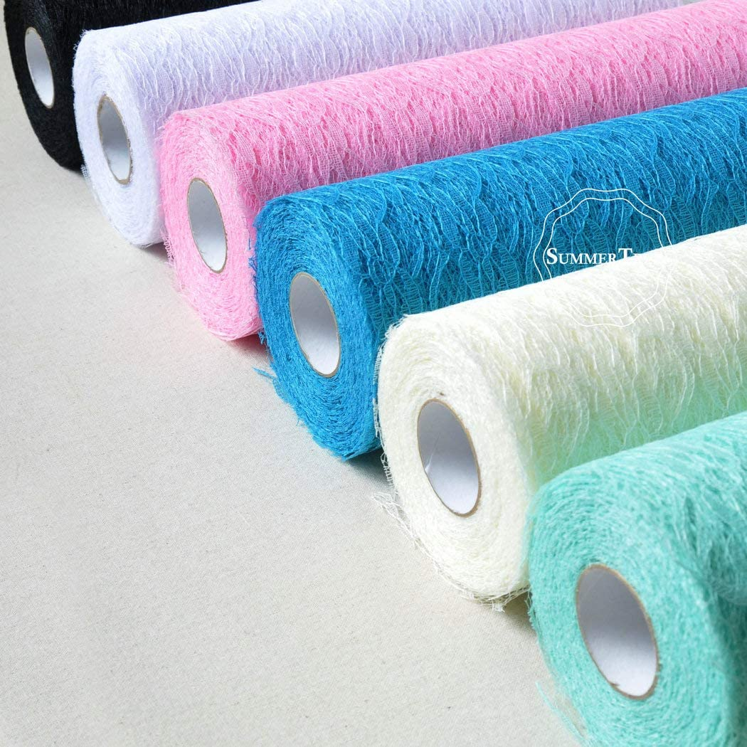 Color: Turquoise Laliva 12inch x 25yards Lace Roll Ribbon Netting Fabric Wedding Party Chair Sash Table Runner Handmade DIY Cratf Decor
