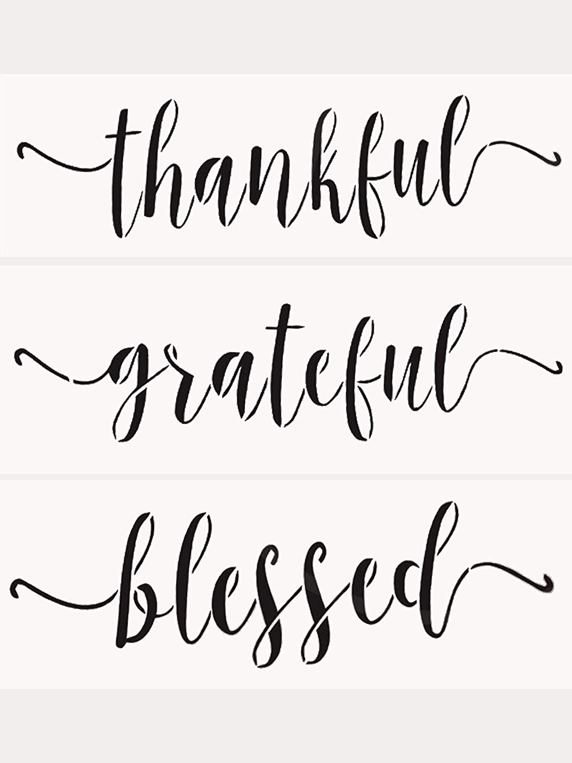 Grateful Thankful Blessed Stencils 3 Pcs Stencil Set for Painting on Wood Laser Cut Painting Stencil for Wall, Signs, Crafts Home Decor