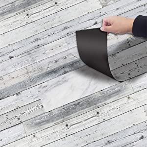 Self-Adhesive Vinyl Flooring Tiles Waterproof Peel and Stick Tiles Wall Stickers for Home Decor ,Gray Wood Grain 118 X 7.87 Inch