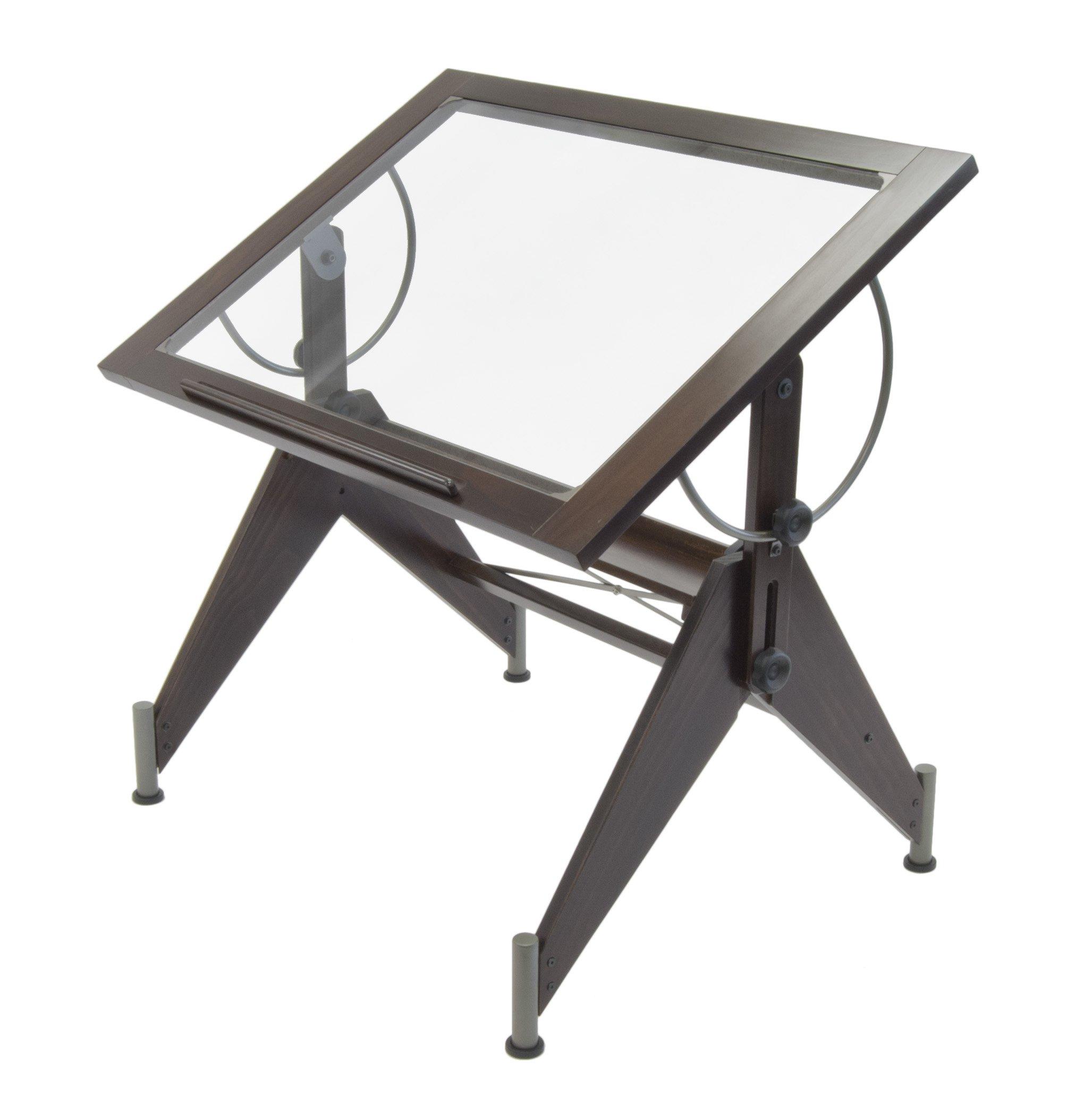 Studio Designs 13311 Aries Glass Top Drafting Table, Dark Walnut with Champagne Metal by STUDIO DESIGNS INSPIRING CREATIVITY WWW.STUDIODESIGNS.COM