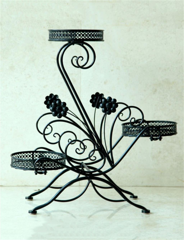 LB Iron Plant Stand Regal hält 3-Blumentopf für Wohnzimmer, Balkon, Innen-, Montage Montage Blumentopf Regal ( farbe : Schwarz )
