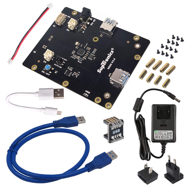 GeeekPi 5V 4A Power Supply & X820 V3.0 2.5' SATA HDD/SSD Shield Expansion Board Kit for Raspberry Pi 1 Model B+/ 2 Model B / 3 Model B / 3 Model B+ …