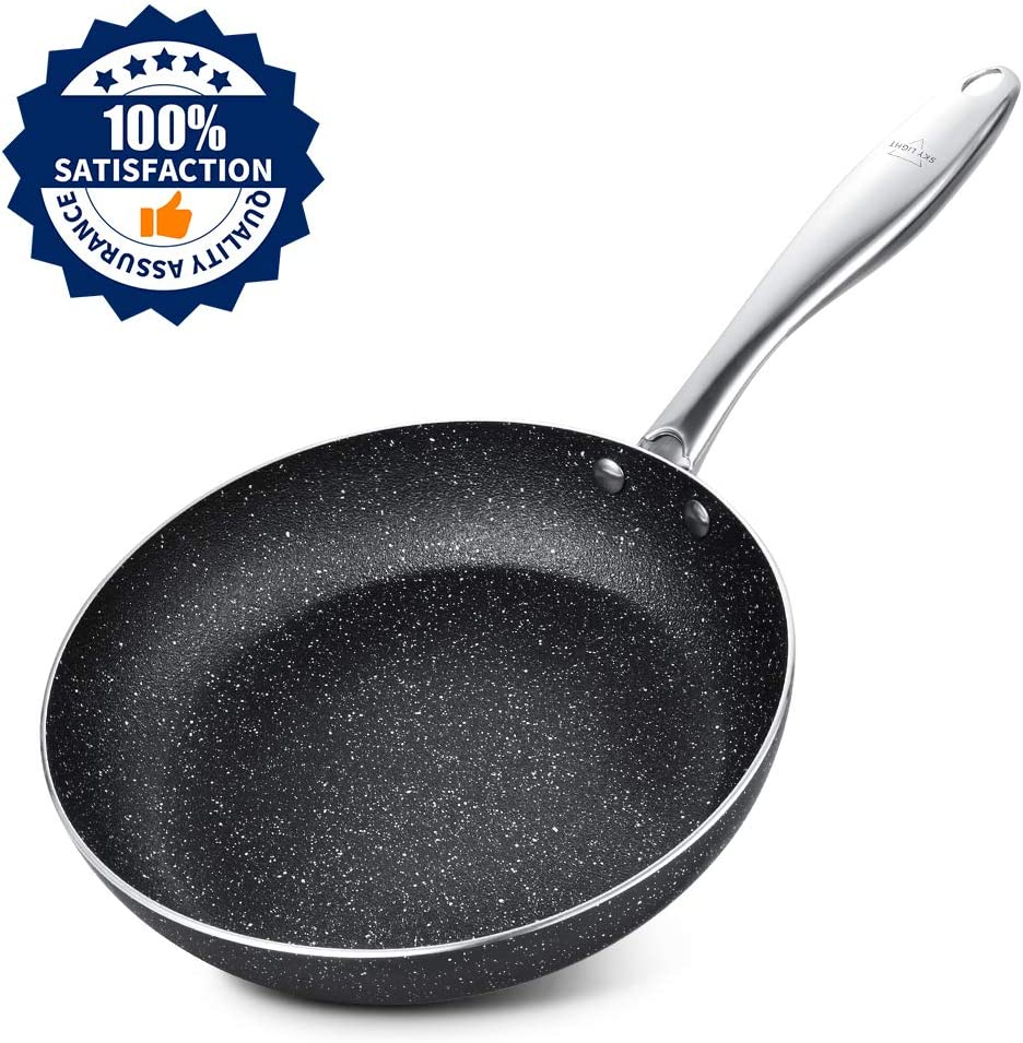 Frying Pan 8 Inch, Stone-Derived Nonstick Coating Omelettes Pan, Stainless Steel Handle Cooking Pan, Induction Compatible, Oven Safe, Dishwasher Safe, Granite/Gift Box Included