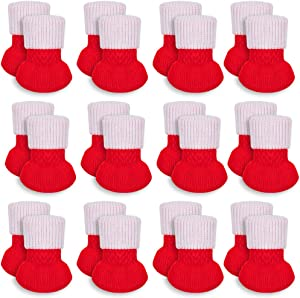 HAKACC 24 PCS Christmas Chair Leg Socks Furniture Socks Chair Leg Floor Protector Decorative Table and Chair, Reduce Noise for Christmas Party,Family Dinner(Red)