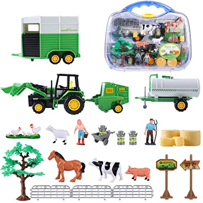 MINGPINHUIUS Farm Toys Set with Farm Animals for Kids (Style 2): Toys & Games