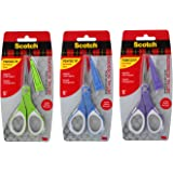 "3M Scotch Precision 5"" Craft Detail Scissors, Pointed Tip with Protective Cover, Pack of 3"