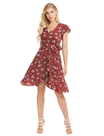 bcb7b5c27 Kaimu Women V-Neck Flutter Sleeve Floral Ruffles Fit and Flare Casual Dress  w/Belt at Amazon Women's Clothing store: