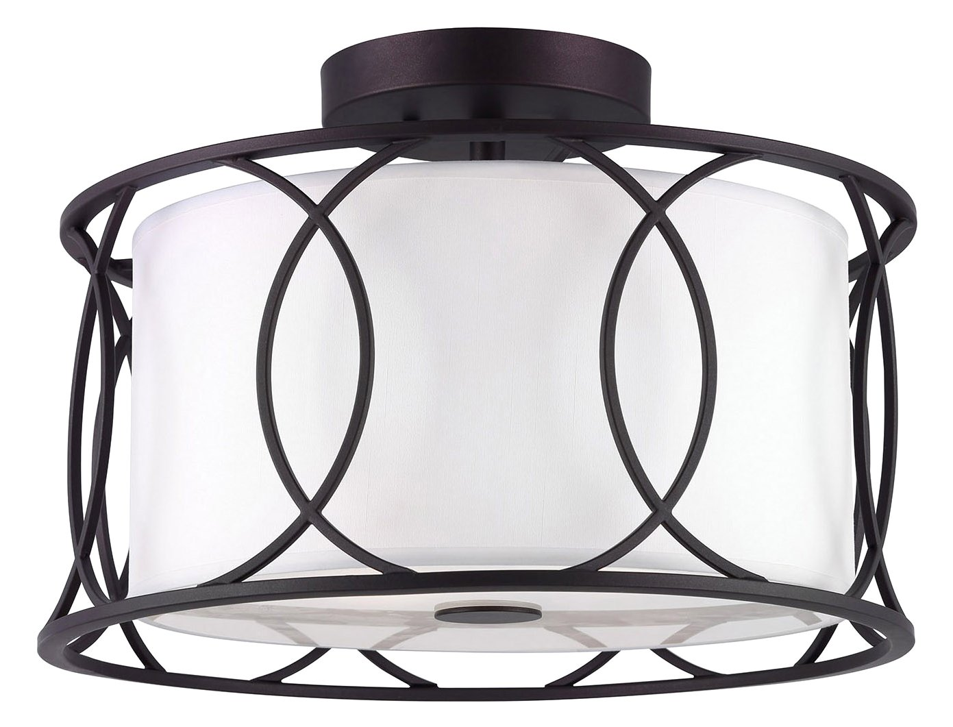 CANARM ISF320A02ORB Monica 2 Bulb Semi-Flush Mount with White Fabric Shade, Oil Rubbed Bronze by Canarm