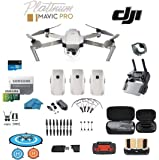 DJI Mavic Pro Platinum Drone - Quadcopter - with 3 Batteries - 4K Professional Camera Gimbal - Bundle Kit - with Must Have Accessories