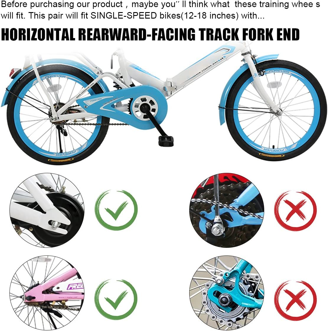 ZOSEN Training Wheels Bicycle Stabilizers for Kids Bike Support Rear Wheels for 12 14 16 18 20 Inch Kids Bicycle