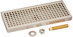 """Kegco 12"""" Beer Drip Tray Stainless Steel Surface Mount with Drain"""