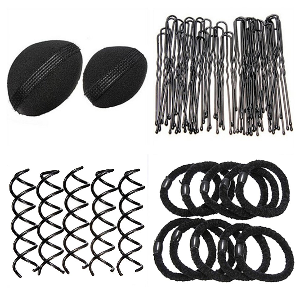 Sanwood Bun Maker Roller Braid Twist Elastics Pins Hair Design Styling Tools Kit ,Black (Black) by Sanwood (Image #3)