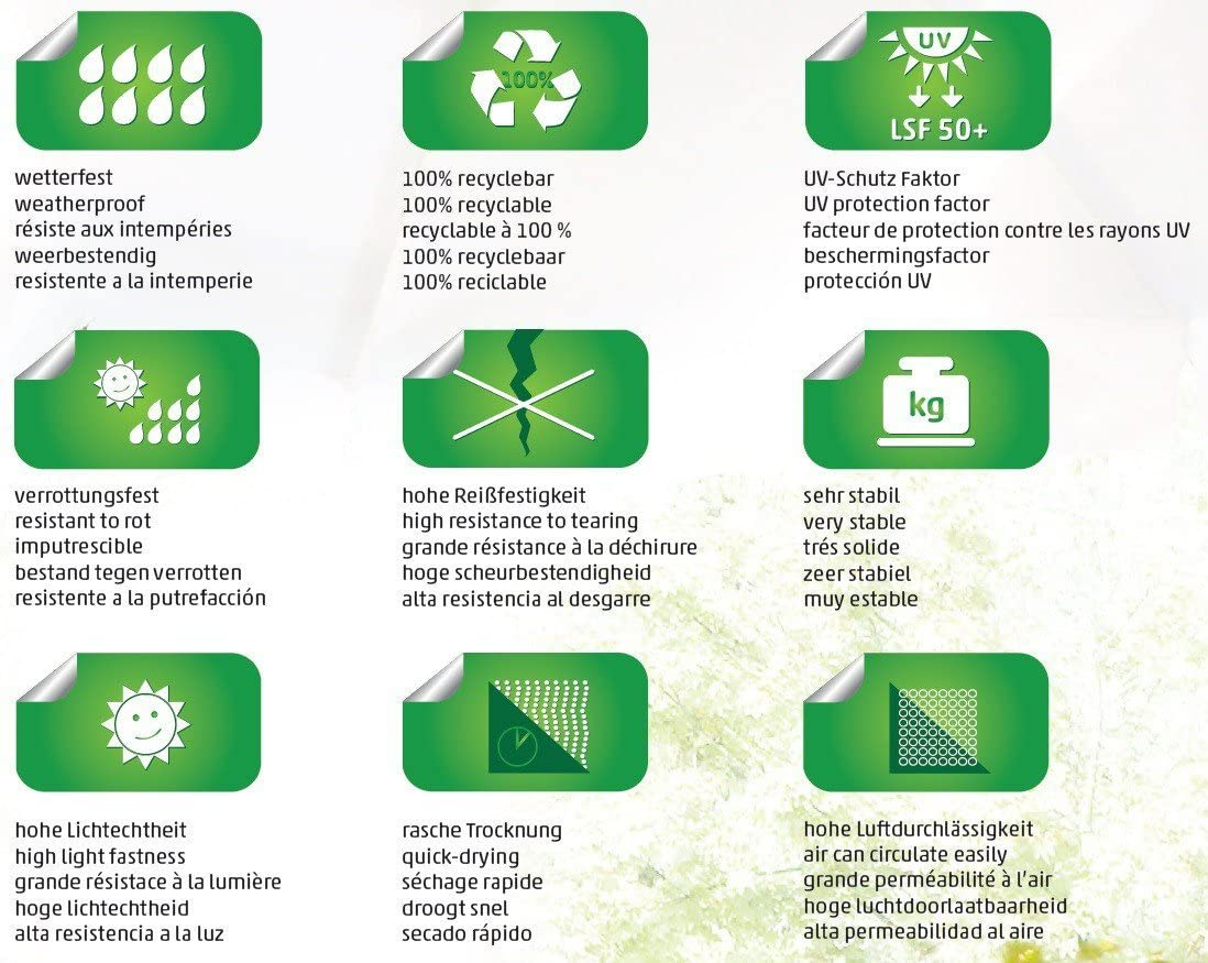sun garden Housse de Rechange pour Easy mouchet/é Tissu B055/Taille L 350/cm Gris 100/% polypropyl/ène