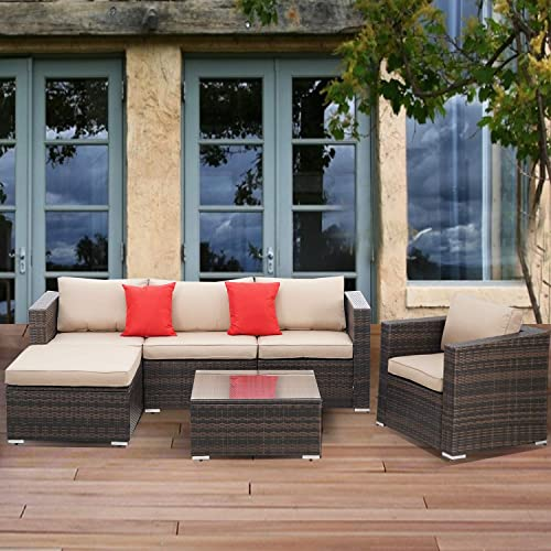 SOLAURA Patio Furniture Set 6-Piece All-Weather Brown Wicker Sectional Sofa Outdoor Modular Conversation Set