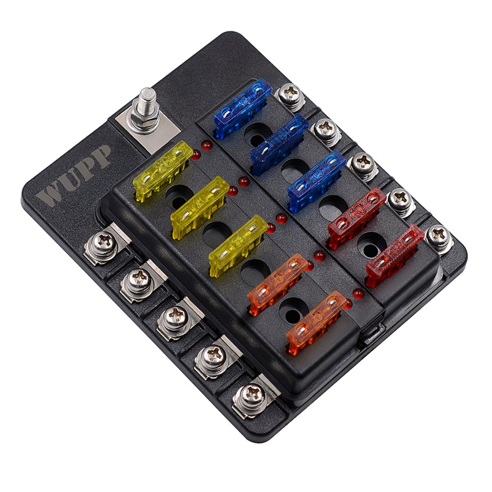 Blade Fuse Box Holder with LED Warning Indicator Damp-Proof Cover Fuse Block for Car Boat Marine RV Truck DC 32V (Screw Terminal,10-Way) by WUPP