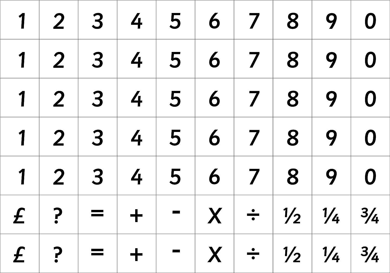 50 chiffres magn/étiques et 20 symboles sur les panneaux Kiss Cut