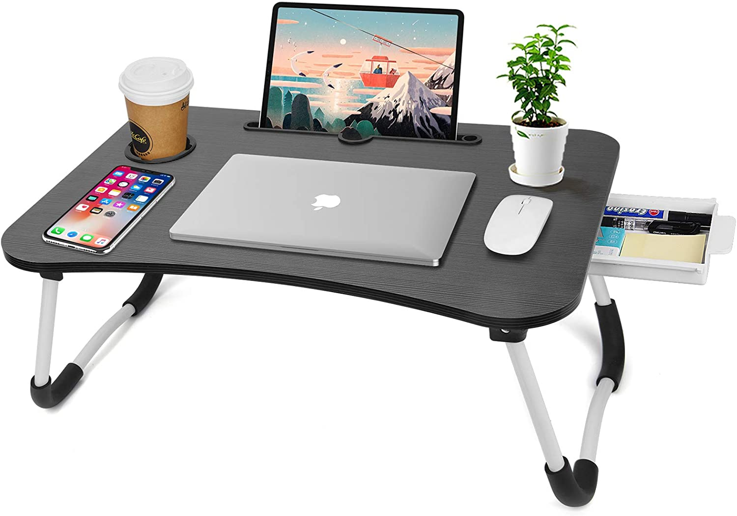 Laptop Stand for Bed, Foldable Laptop Bed Tray Table with Storage Drawer and Cup Slot,Lap Table for Eating,Working,Reading Book on Bed/Sofa/Floor (Black A)