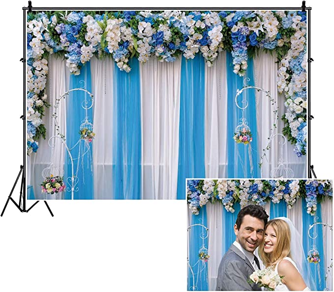 OERJU 7x5ft Romantic Floral Backdrop White Purple and Blue Flowers on White Texture Wooden Board Photography Background Wedding Bridal Shower Decor Newborn Baby Shower Birthday Party Wallpaper