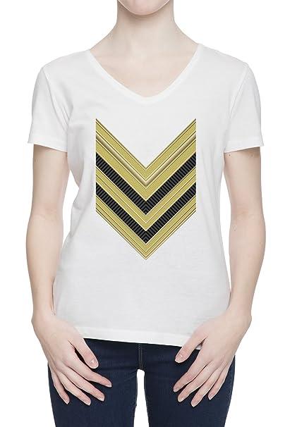 Fila de ejército V Cuello Camiseta Para Mujer Blanca Todos Los Tamaños | Womens White V