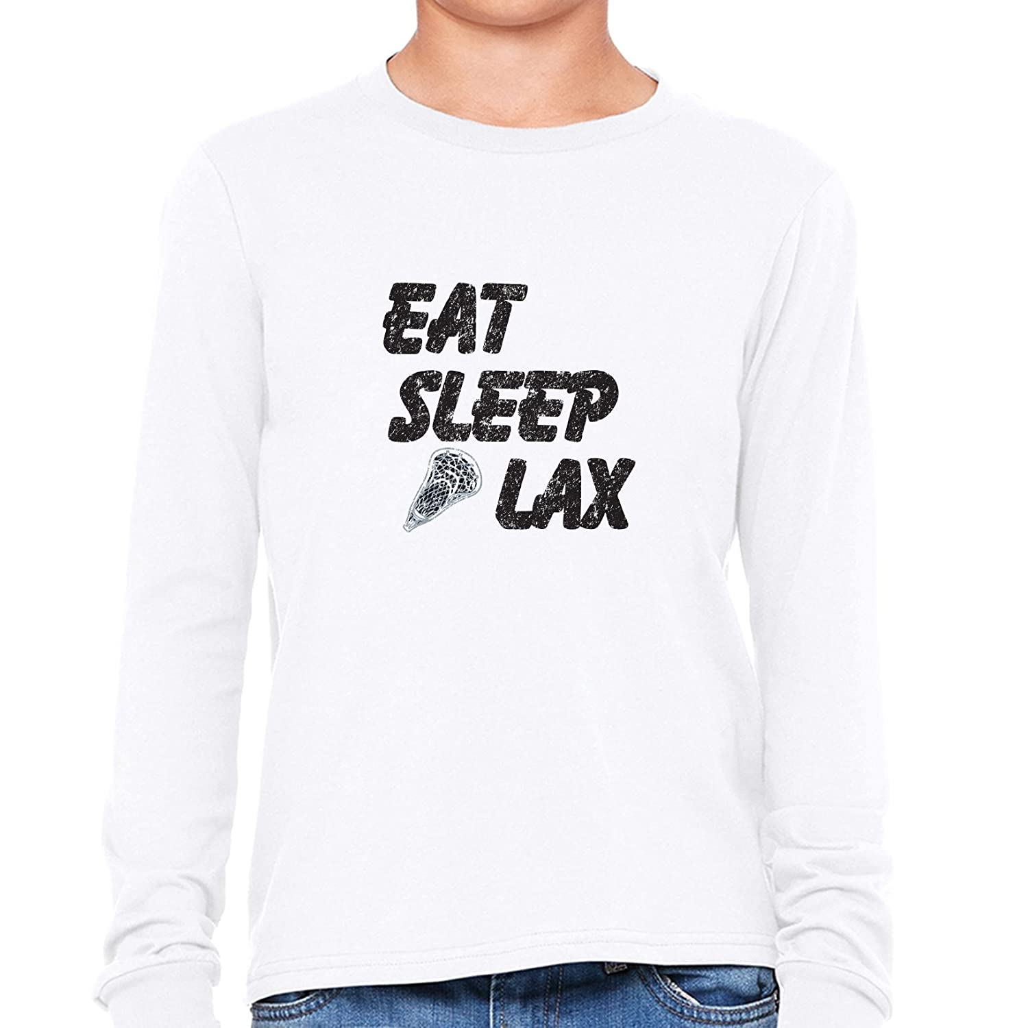 3626b5527 Amazon.com  Hollywood Thread Eat Sleep Lax Graphic Lacrosse Player Trendy  Design Boy s Long Sleeve T-Shirt  Clothing