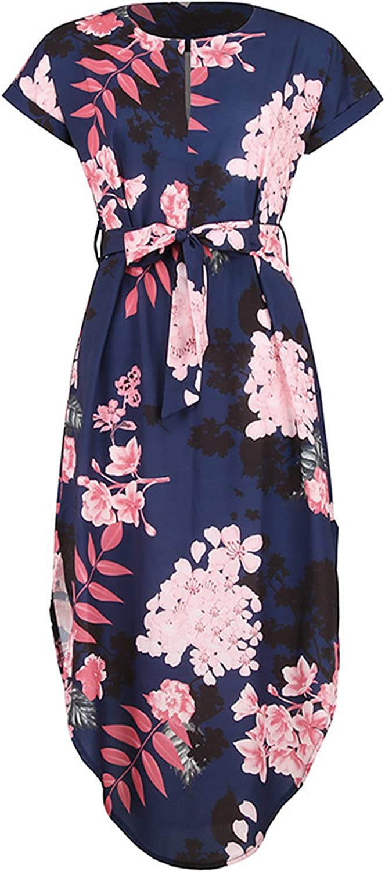 Cindeyar Damen Sommerkleider Kurzarm V-Ausschnitt Lange Kleider Sommer Elegantes Strandkleid