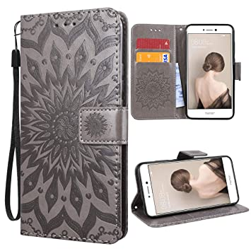 VemMore Funda para Huawei P8 Lite 2017 Carcasa Libro con Tapa Flip Folio Case de PU Cuero Silicona Soporte Plegable Ranuras Tarjetas y Billetera ...