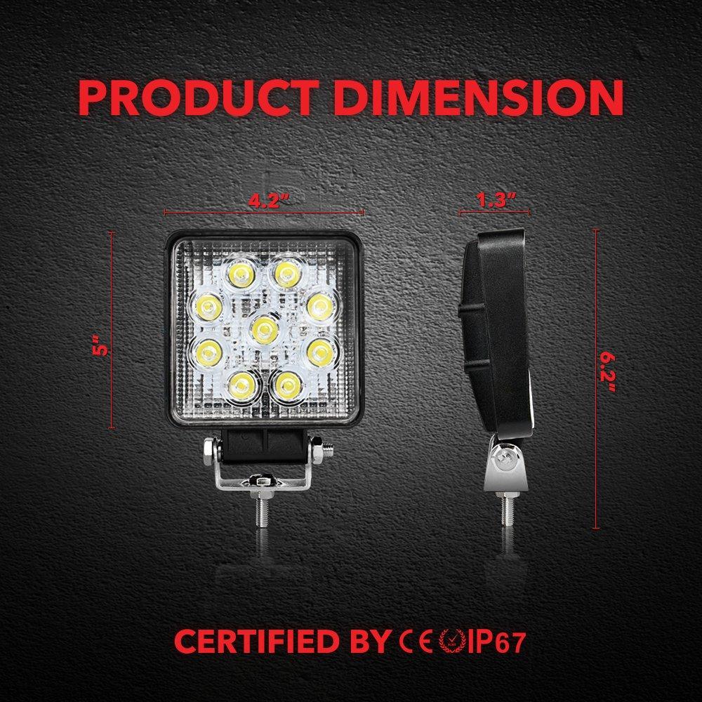 27W LED luces de trabajo 12V-24V focos de led 6500K luces de conducci/ón luz de niebla Off Road conducci/ón de luz LED 27W 2PCS