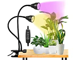 LED Grow Light for Indoor Plant, Gooseneck Dual Head Clip-on Plant Lights for Seedlings Succulents,Timer Function with 3 Mode