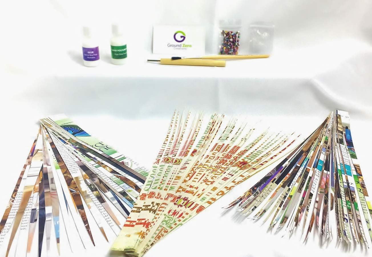 beads glue Ground Zero Creations Paper Bead Making Kit with slotted bead roller everything you need to make paper beads varnish brush instructions