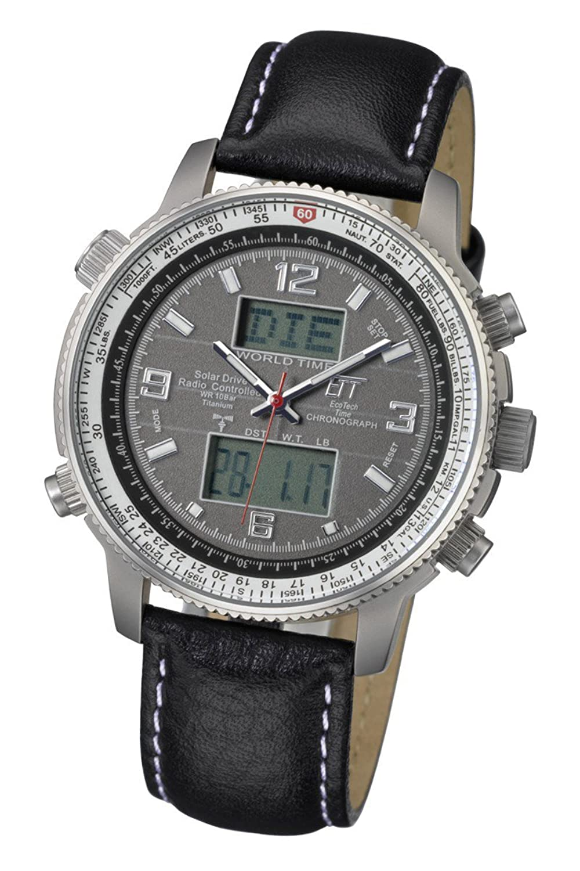 Solar-Funk-Armbanduhr fÜr Herren Eco Tech Time Herrenuhr Solar Drive Funk Professional Pilot Herrenuhr EGT-11207-