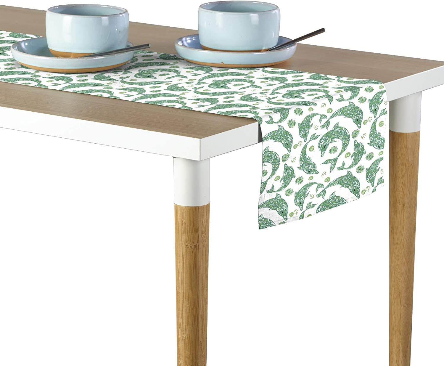 Fabric Textile Products Designer Dolphins Table Runner 12 X72 Home Kitchen