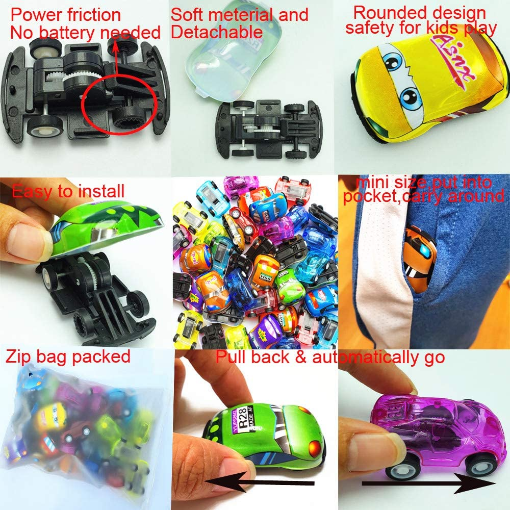 Himeeu 40 Pcs Pull Back Vehicles Mini Car Toys Friction Powered Racing Cars for Preschool Toddlers Boys /& Girls Birthday Party Favors for Kids Gifts