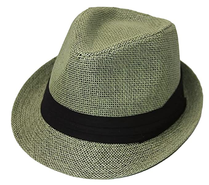 The Hatter Company Straw Tweed Fedora Hat- Green at Amazon Women s ... 92f0430a178