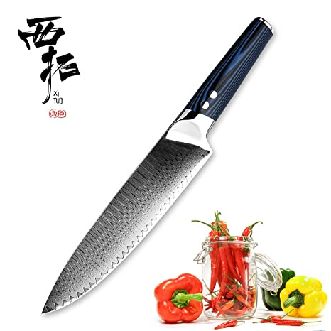 XITUO 8-inch Chef Knife Japanese VG 10 High Carbon Damascus Stainless Steel Kitchen Knife with Ergonomic Micarta Handle and Razor Sharp Blade For ...