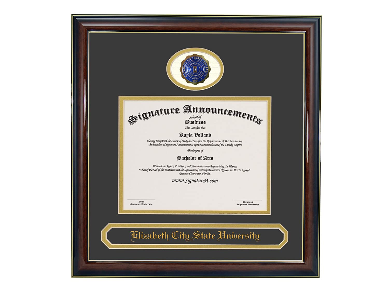 Professional//Doctor Sculpted Foil Seal /& Name Graduation Diploma Frame 16 x 16 Gold Accent Gloss Mahogany Signature Announcements Elizabeth-City-State-University Undergraduate